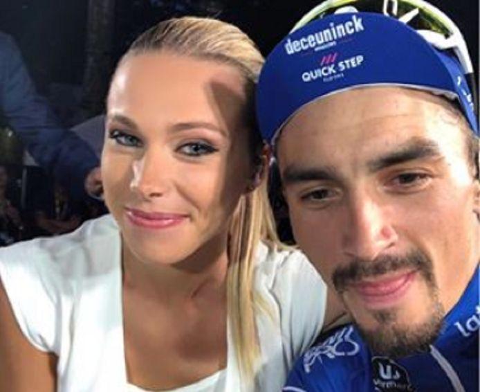 Een selfie van Rousse en Alaphilippe tijdens de laatste Tour de France.
