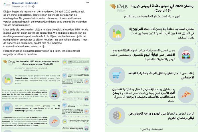 Links het oorspronkelijke bericht waarop de discussie ontstond, vooral door de Arabische tekst (rechts).