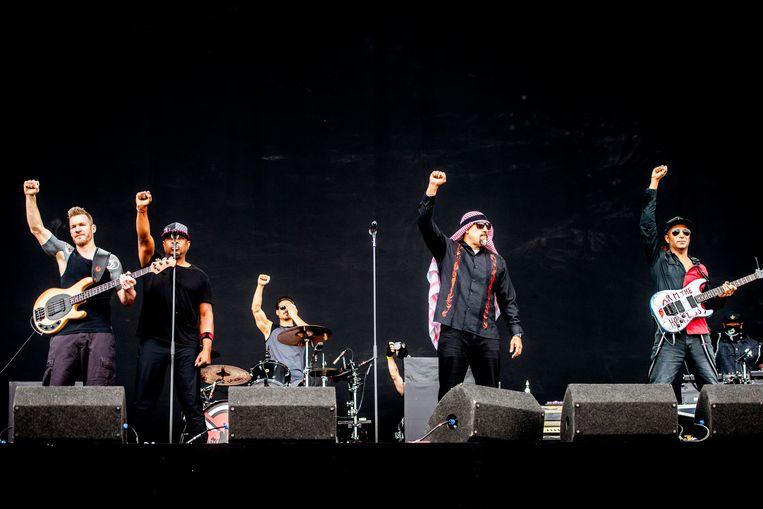 Prophets of Rage tijdens hun passage op Rock Werchter Beeld Stefaan Temmerman