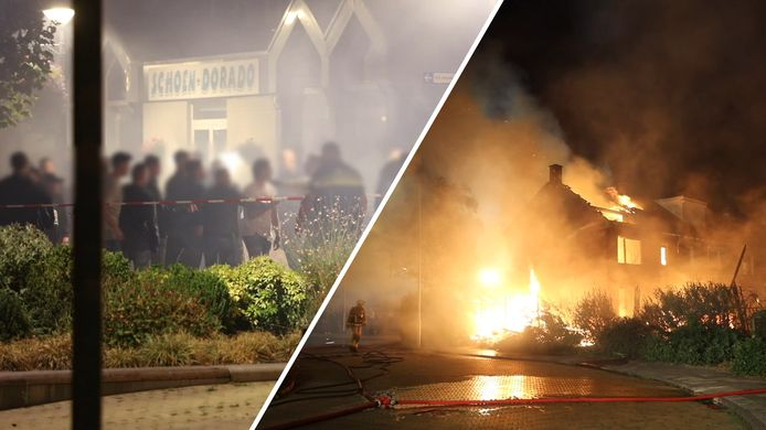 Videostill: Confrontatie tussen jongeren en politie bij brand in Wezep, dit najaar