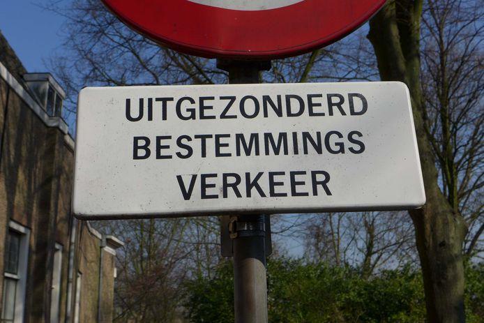 Dit verkeersbord verschijnt vooralsnog niet in onder meer de Palmstraat en Munpad in Schaijk.