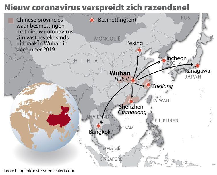 Het nieuwe coronavirus verspreidt zich razendsnel. Hierbij een kaart China met locatie Wuhan en gebieden waar besmettingen zijn vastgesteld. Beeld ANP Graphics