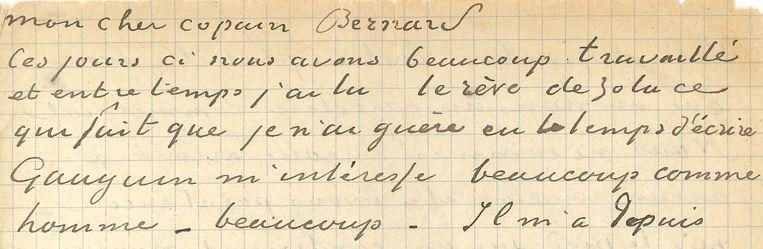 Een deel van de brief. Beeld Van Gogh Museum