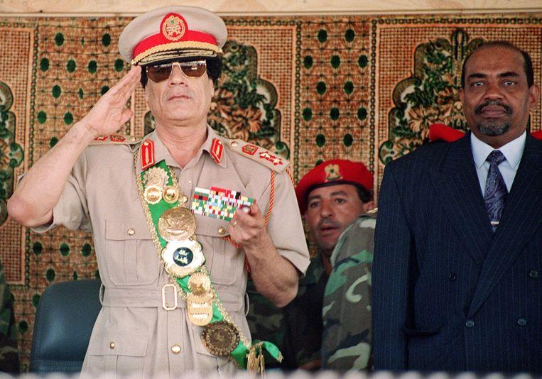 De Libische ex-dictator Kadhafi, die in 2011 werd afgezet en gedood. Beeld AFP