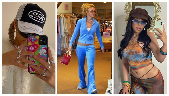 Uiterst links en rechts twee hedendaagse interpretaties van het Y2K-stijltje, in het midden Y2K-icoon Britney Spears te zien in een Juicy Couture tracksuit.