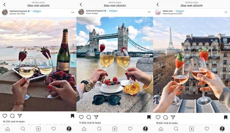 Een wijntje met aardbei. Beeld Instagram