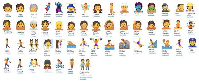 Een overzicht van bijna alle nieuwe emoji's.