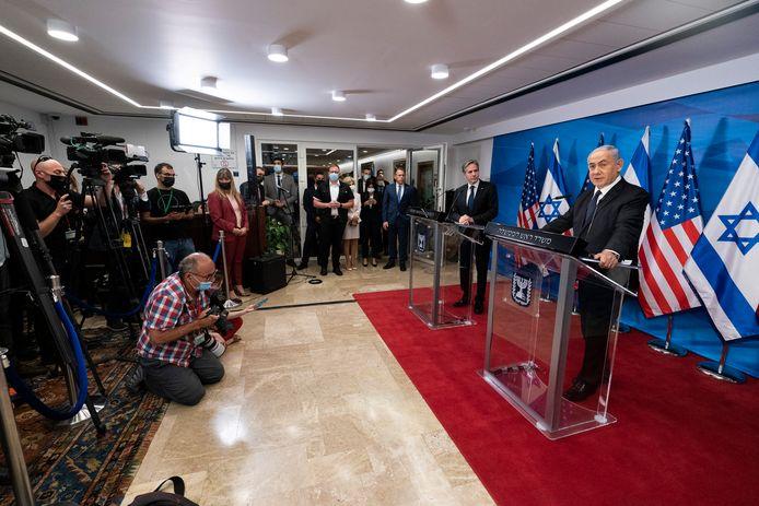 Foto konferensi pers Blinkin dan Netanyahu di Yerusalem.