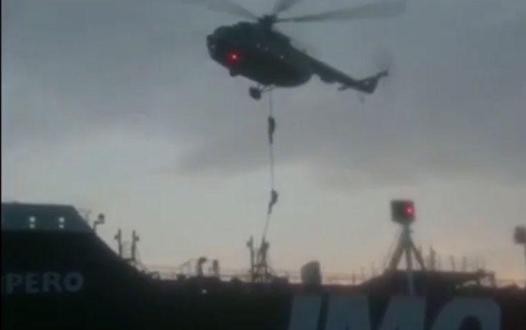Een fragment uit een video van de Iraanse Revolutionaire Garde. Beeld AFP
