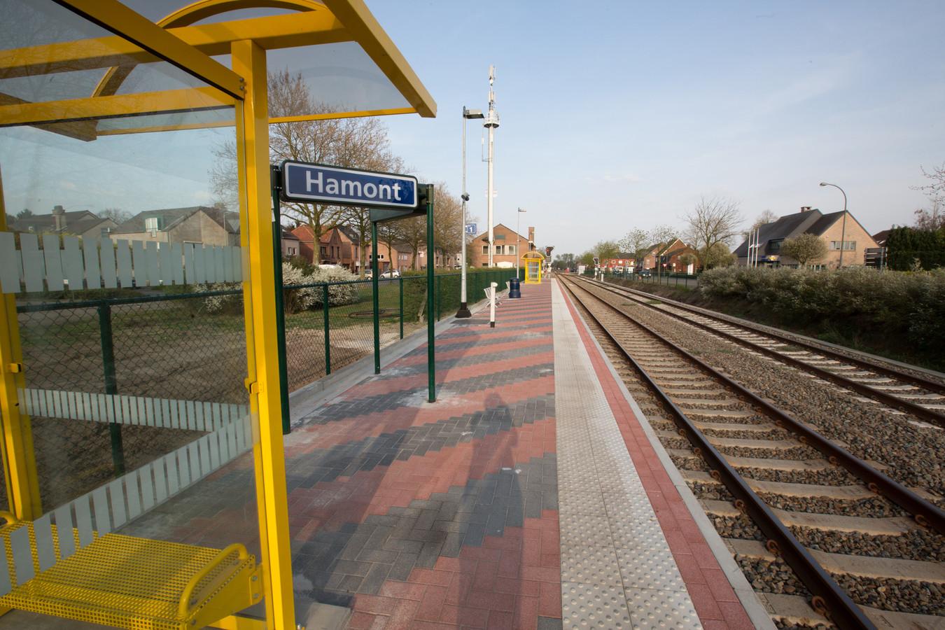 De burgemeesters hopen dat de trein aan dit station van Hamont geen eindhalte kent, maar doorrijdt tot in Weert.