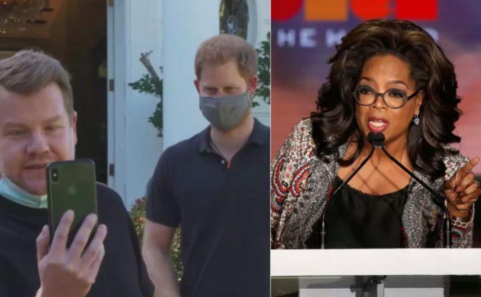 Oprah boos op James Corden en prins Harry.