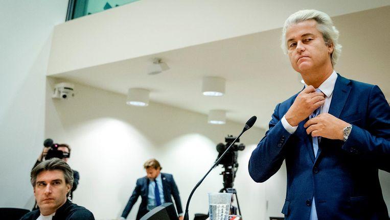 Geert Wilders in de rechtbank op Schiphol. Beeld anp