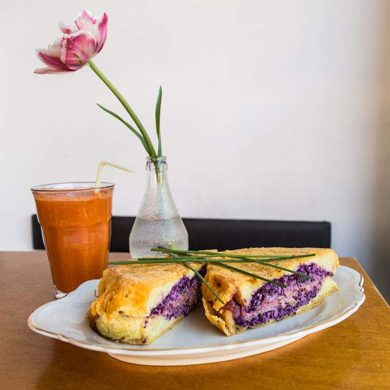 Een broodje pastrami met koolsalade van Lunchroom Wilhelmina. Beeld Tammy van Nerum