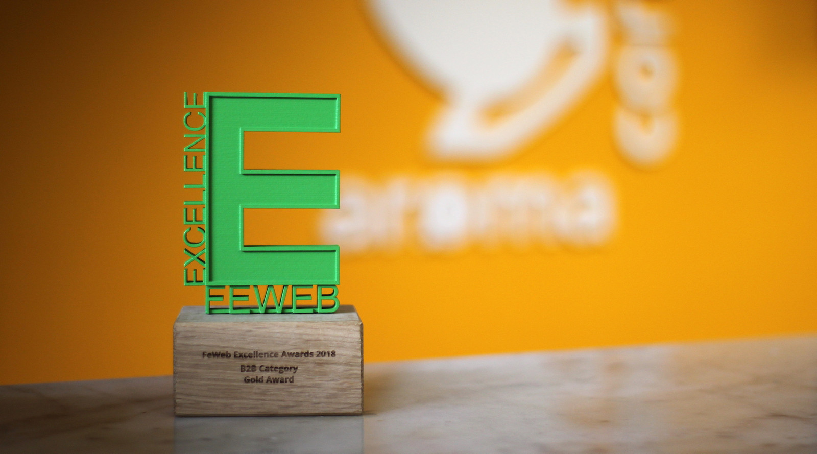 De award die Aroma Communicatie in ontvangst mocht nemen.