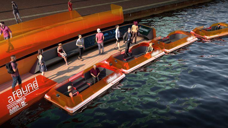 Conceptversie van een zelfsturende boot. Beeld Roboat.org