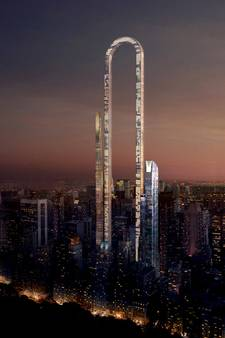 Gigantische paperclip in skyline New York