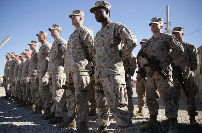 Amerikaanse mariniers op een militaire basis Shorab in de provincie Helmand.
