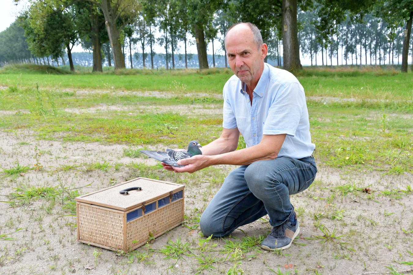 Eddy van Acker op het perceel aan de Heuvelstraat in Heikant waar na de zomer een duiventuin zal verrijzen.