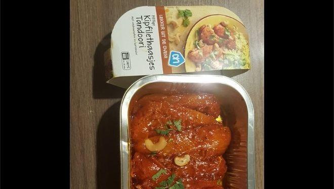 De omstreden 'pittige kipfilethaasjes Tandoori met cashewnoten en koriander'.