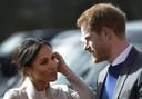 Prins Harry en zijn verloofde Meghan Markle in Lisburn op 23 maart 2018 waar ze een evenement bijwoonden.