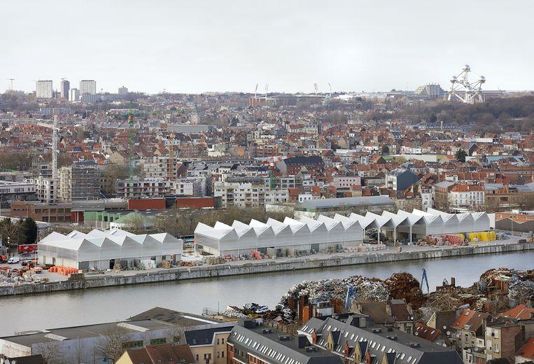 Bouwmaterialendorp in de haven van Brussel, ontworpen door TETRA architecten. Beeld Filip Dujardin