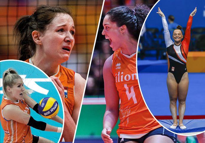 Van links naar rechts: Kirsten Knip, Lonneke Slöetjes, Celeste Plak en Romee Pol gaven onlangs aan hun topsportcarrière (tijdelijk) opzij te zetten.