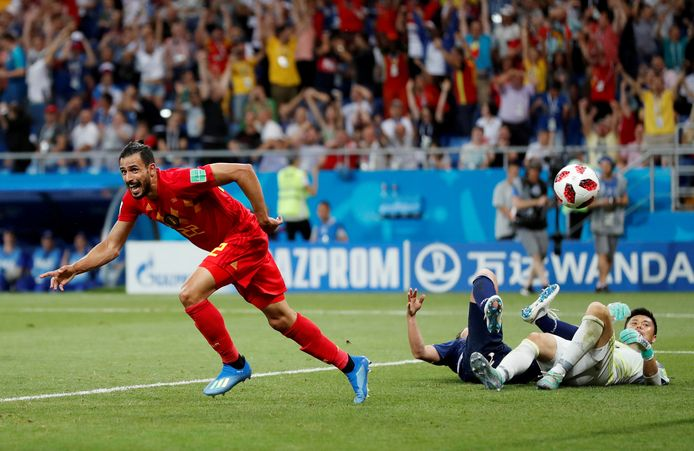 Chadli door het dolle heen na zijn goal.