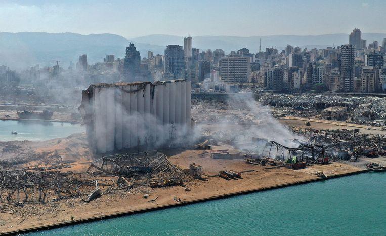 Luchtbeeld van de ravage. 'Sinds het ontstaan van libanon zijn we er nooit in geslaagd een land, een thuisland, te besturen.' Beeld AFP