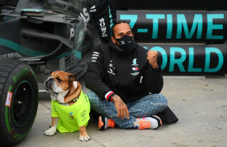 Lewis Hamilton poseert met zijn hond voor de foto na zijn winst in Istanbul.  Beeld Pool via REUTERS