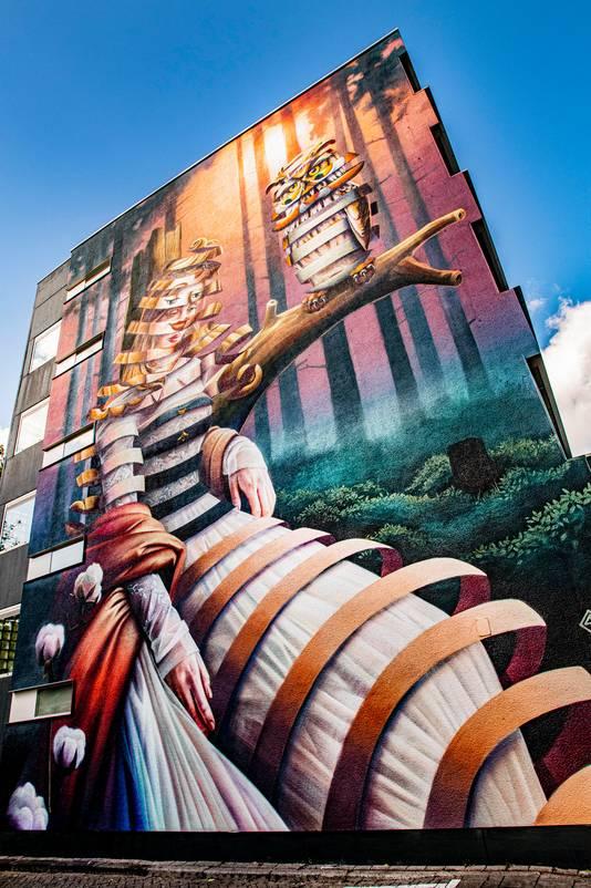 Ook sinds kort in Tilburg te zien: dit metershoge werk van Super-A aan de Tjeuke Timmermansstraat.