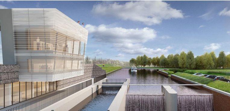 Zo zal de vernieuwde stuw in Aalst er moeten uitzien.