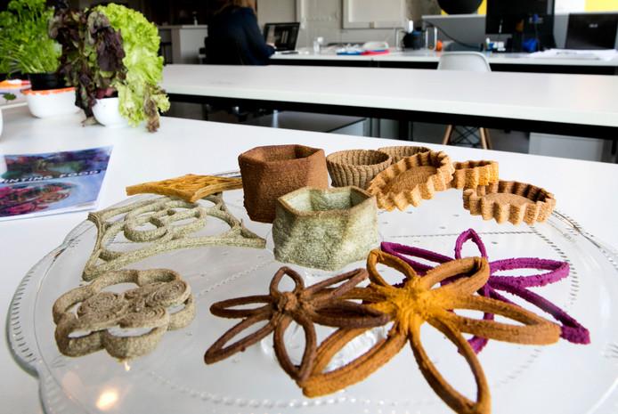 Geprinte hapjes van het Eindhovense bedrijfje Upprinting, dat gebruikmaakt van Foodstarter bij het verbeteren van zijn producten.
