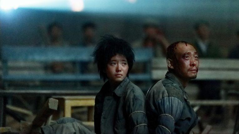 Beeld uit de film One Second van Zhang Yimou.  Beeld