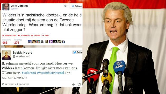 Op Twitter wordt verontwaardigd gereageerd op de uitspraken van Wilders.