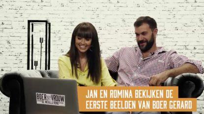 Jan en Romina bekijken de eerste beelden van 'Boer zkt. Vrouw'-deelnemer Gerard