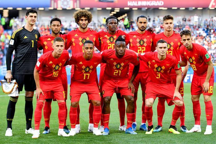 België voor het duel met Engeland op 28 juni.