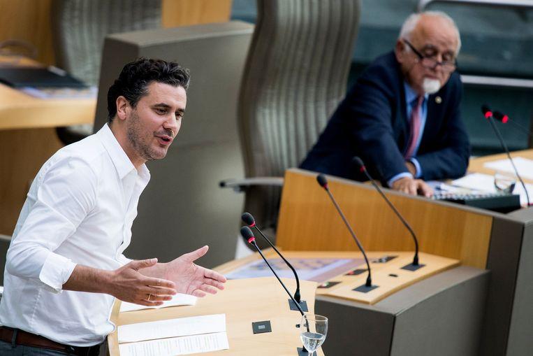 Joris Vandenbroucke (sp.a) in het Vlaams parlement. Beeld BELGA