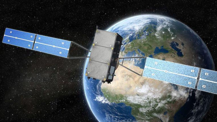Een artistieke impressie van de Europese GNSS-satelliet met op de achtergrond planeet Aarde. Beeld EPA