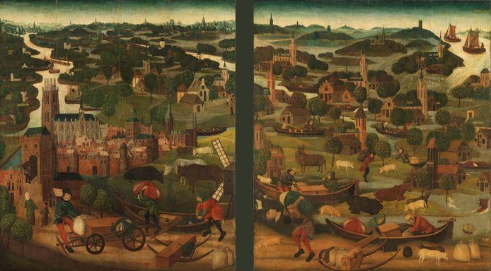 Deze twee panelen uit 1490 tonen de Sint-Elisabethsvloed in de Grote Waard en zijn de vroegst bekende afbeeldingen van een watersnood in Nederland. De panelen hangen in het Rijksmuseum en waren ooit onderdeel van een altaarstuk. Rechtsboven breekt de dijk bij Wieldrecht door.