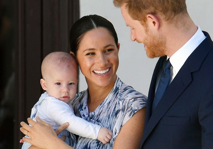 Prins Harry, Meghan en Archie in 2019.