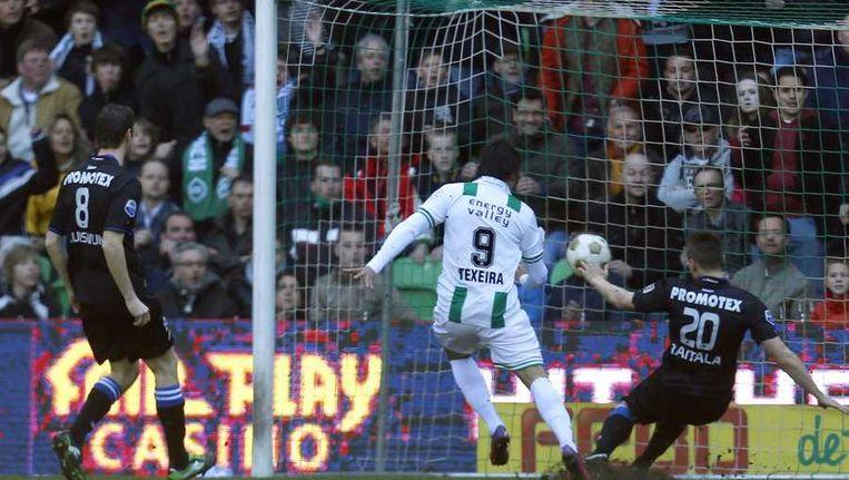 Raitala zette Groningen met een eigen doelpunt op weg naar de 3-1 overwinning. Beeld ANP