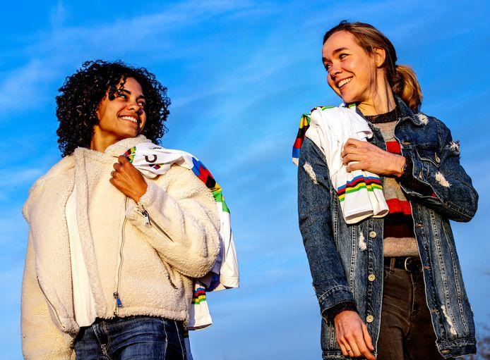 Ceylin del Carmen Alvarado en Anna van der Breggen, twee Nederlandse wereldkampioenen op de fiets.