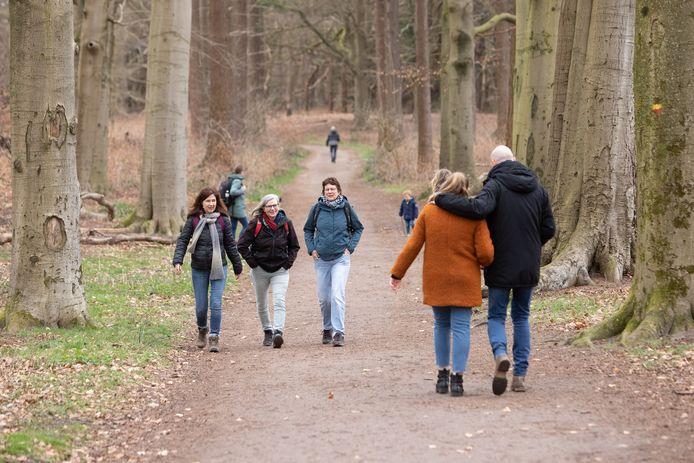 Mensen aan het wandelen rond de bossen van de Lage Vuursche.