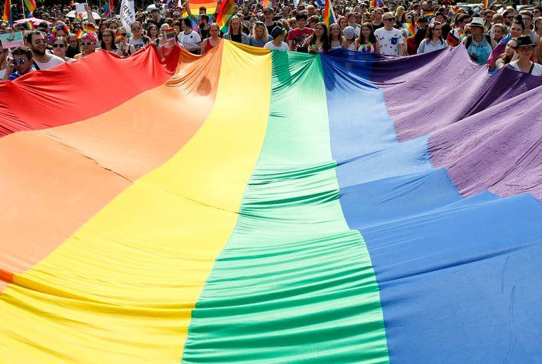 Deelnemers van de jaarlijkse Equality Parade in Warschau houden samen een grote lhbti-vlag vast.  Beeld null