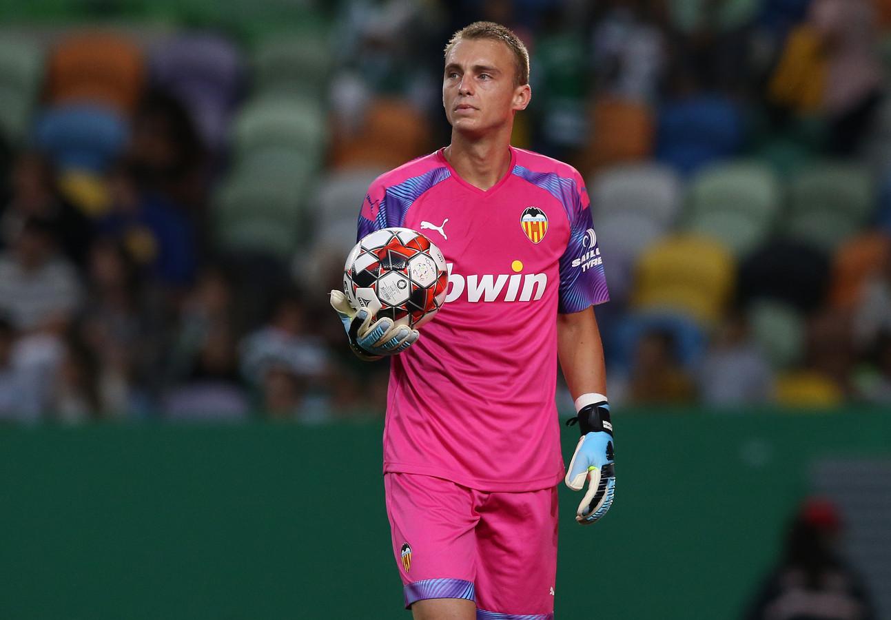 Jasper Cillessen tijdens de oefenwedstrijd tegen het Portugese Sporting CP.