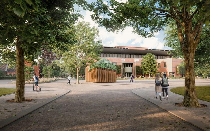 Artistieke impressie van het nieuwe Mgr. Bekkersplein voor het gemeentehuis in Haaren