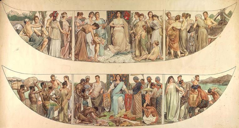 Het omstreden rechter (boven) en het linker paneel van de Gouden Koets. Met name om het linkerpaneel is veel te doen omdat dit schaamteloos naar het Nederlandse slavernijverleden zou verwijzen. Beeld RV
