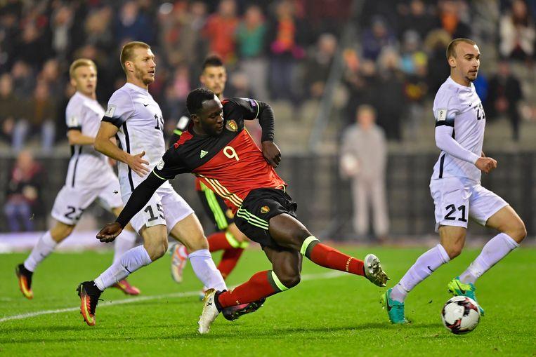 "Romelu Lukaku scoorde twee doelpunten tegen Estland, op 13 november 2016. ""Toch klonk er boegeroep."" Beeld Photo News"