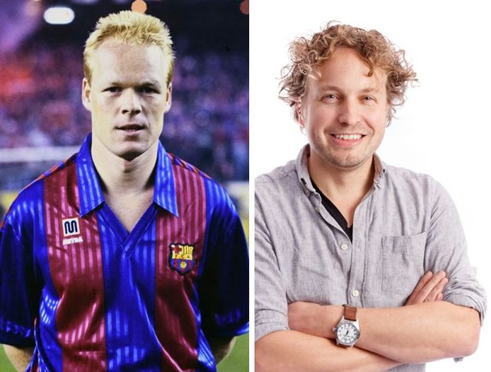 Links: Ronald Koeman als speler van FC Barcelona (links). Rechts: columnist en voormalig hardwerkende linksback Niels Herijgens.