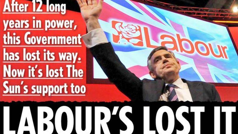 'Labour's lost it' kopt de krant - met een oplage van drie miljoen de grootste Britse tabloid - vandaag op de voorpagina onder een foto van Brown. Beeld